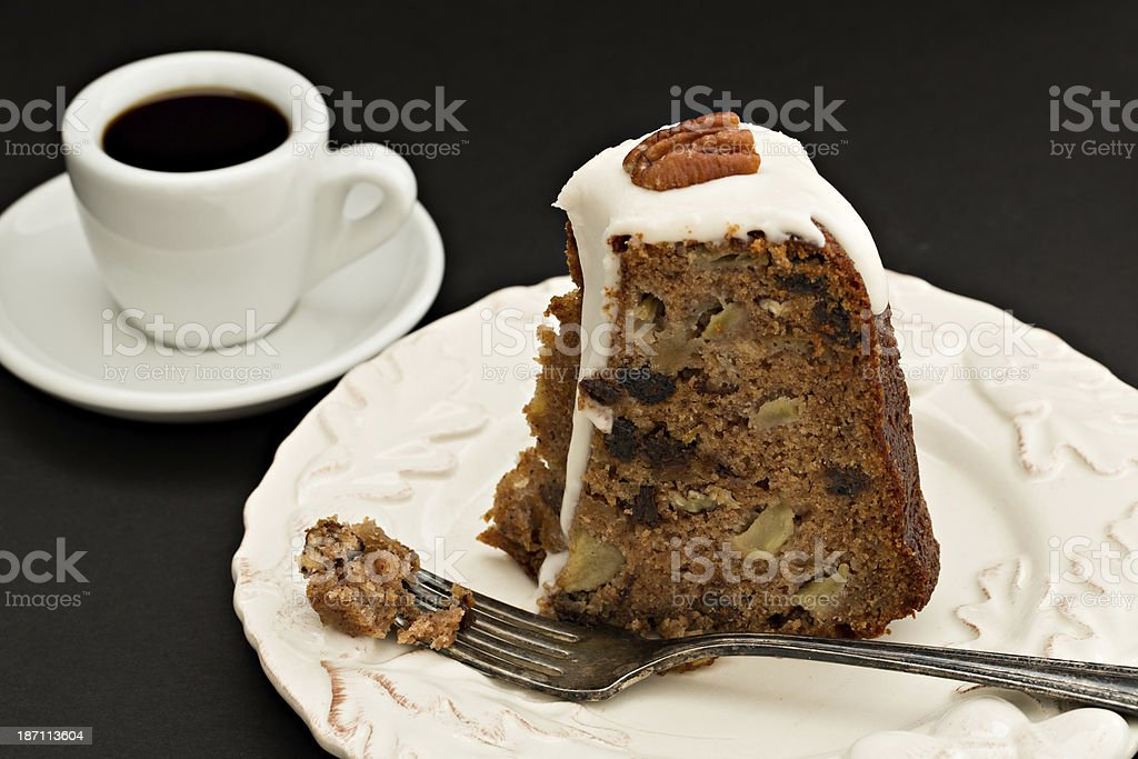 Slice Of Applesauce Rum Cake and Coffee royalty-free stock photo
