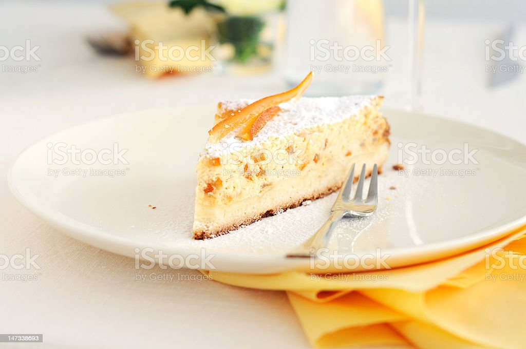 Slice of Baked ricotta cake royalty-free stock photo