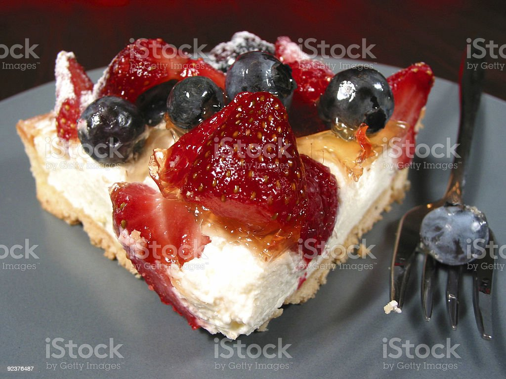 Slice of berry cake on a plate royalty-free stock photo