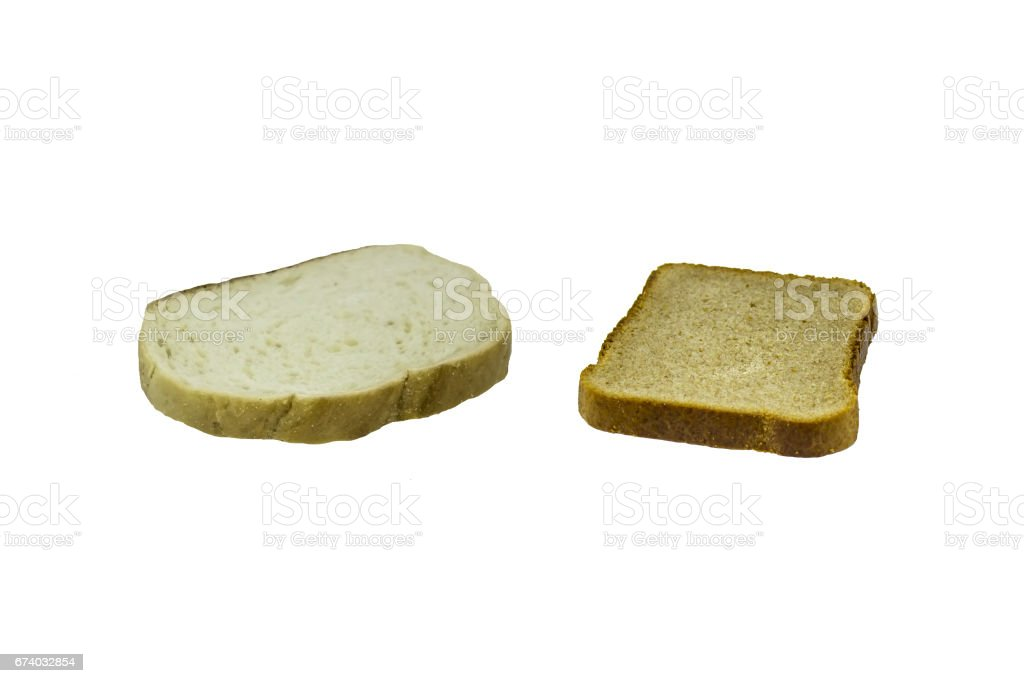 Slice of black bread and slice of white bread (loaf) isolated royalty-free stock photo