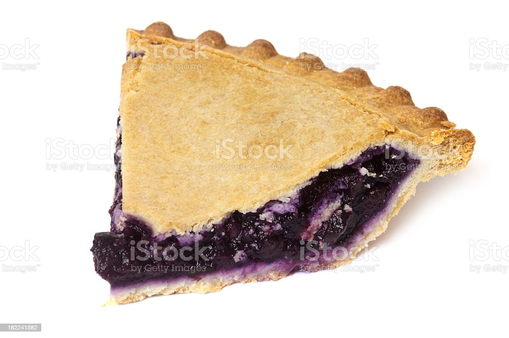 A slice of blueberry pie on a white background stock photo