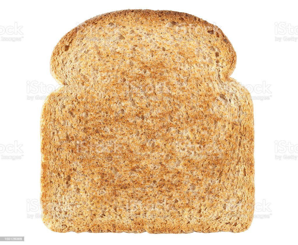 Slice of Bread isolated on white background. Clipping Path included. stock photo