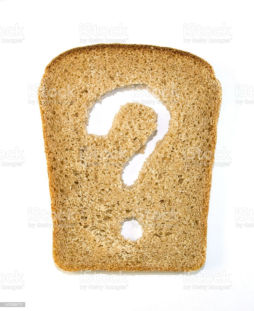 Slice of bread with a question mark cut out from it Slice of bread whith a question mark isolated on white background Backgrounds Stock Photo