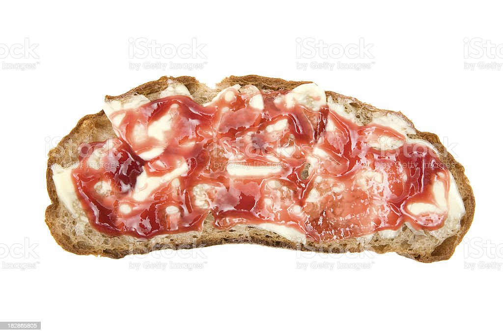 Slice of Bread with Butter and Jam royalty-free stock photo