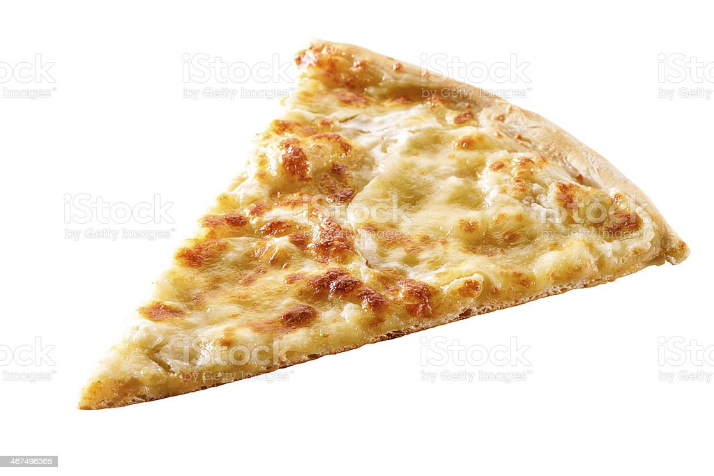 slice of cheese pizza close-up isolated stock photo