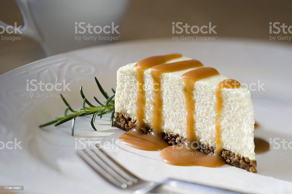 Slice of Cheesecake with Rosemary Caramel Sauce XXL stock photo