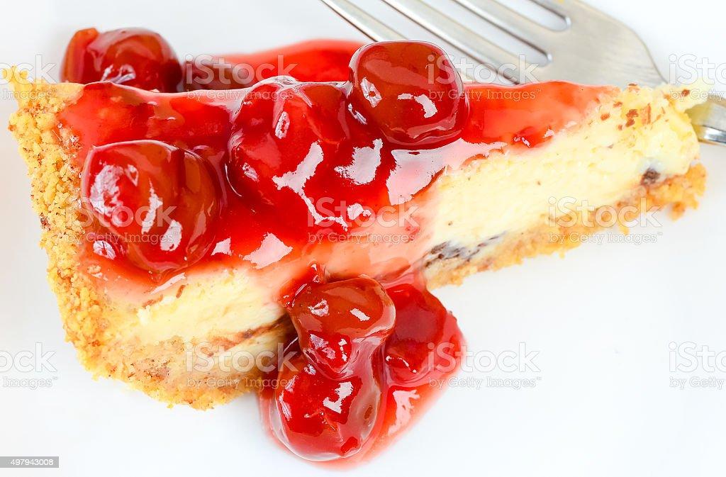 Slice of Cherry Cheese Cake stock photo