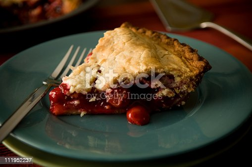 A beautiful slice of cherry pie on a holiday table