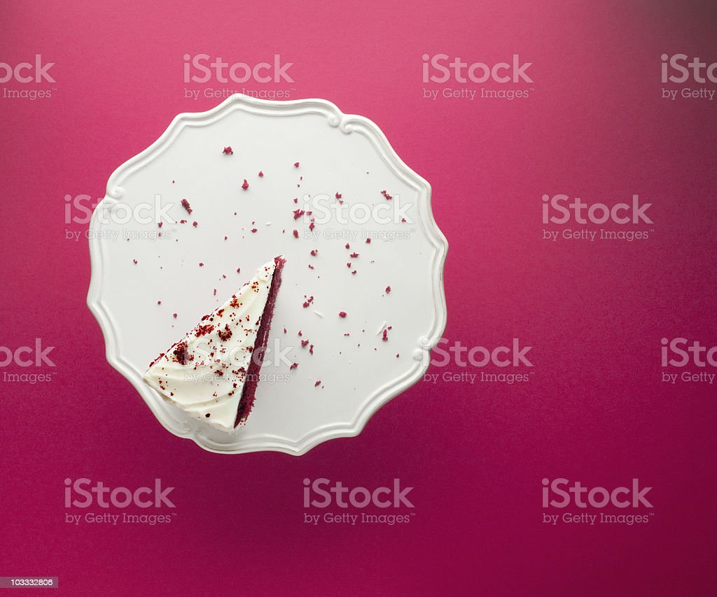 Slice of chocolate cake on cakestand stock photo