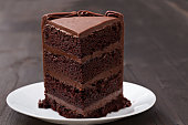 piece of delicious dark chocolate cake on a white plate
