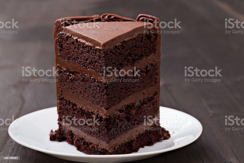 Slice Of Chocolate Fudge Cake stock photo
