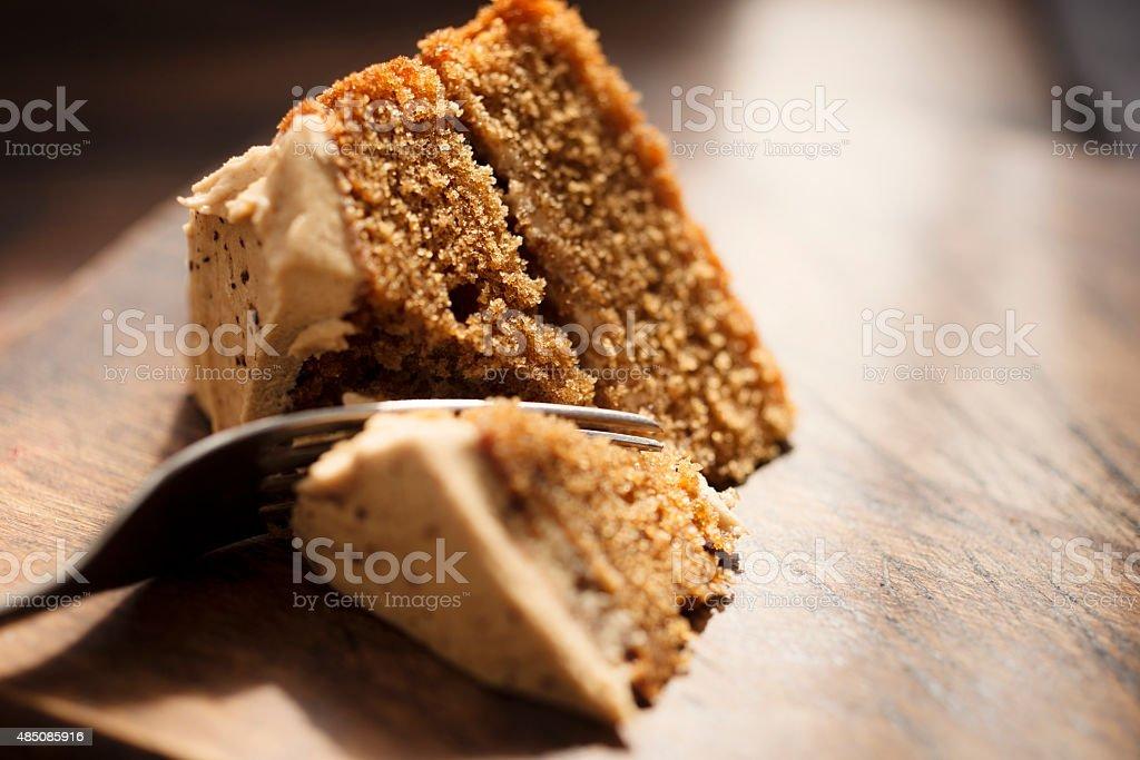 Fatia de bolo de café - foto de acervo