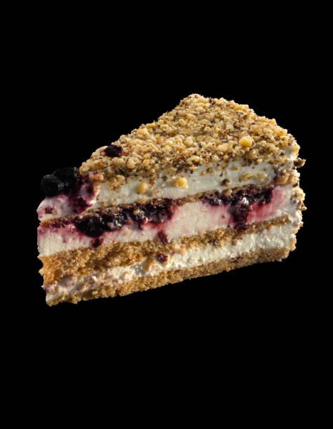 leckere kuchen mit sahne joghurt mit heidelbeeren, walnüssen und minze dekoriert - regenbogen käsekuchen stock-fotos und bilder