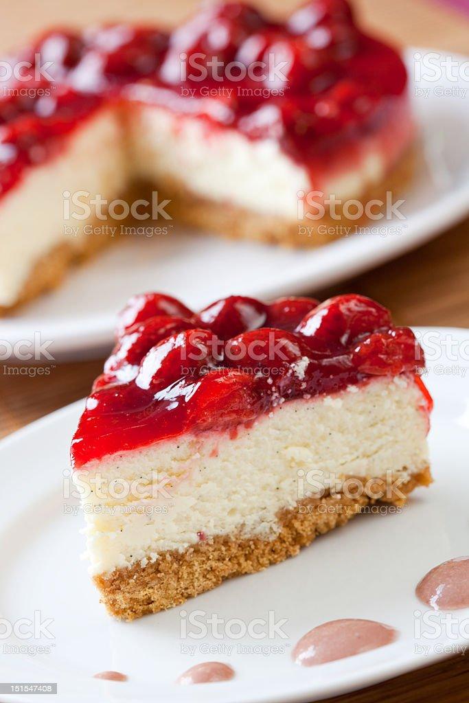 Slice of delicious strawberry cheese cake stock photo