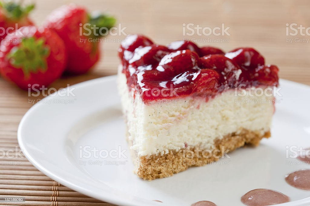 Slice of delicious strawberry cheese cake stock photo