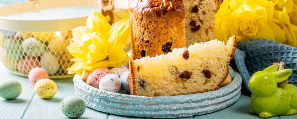 Slice of easter orthodox sweet bread, kulich end quail eggs. stock photo