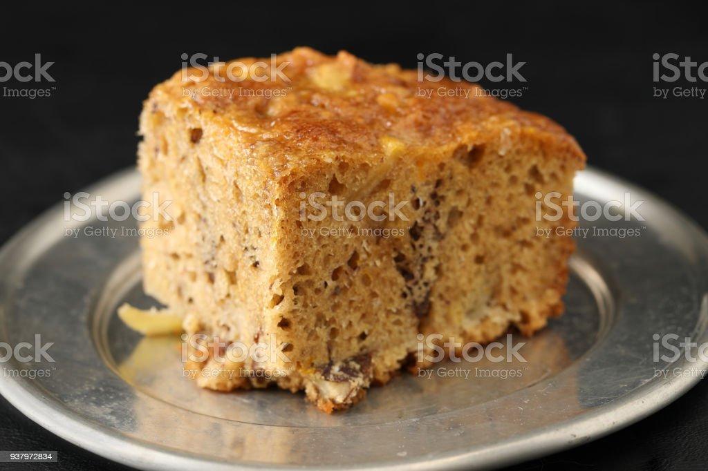 Slice Of English Fruitcake stock photo