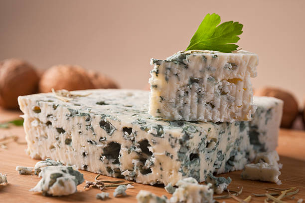Slice of French Roquefort cheese