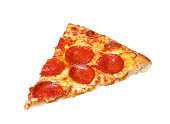 Slice of fresh italian classic original Pepperoni Pizza isolated