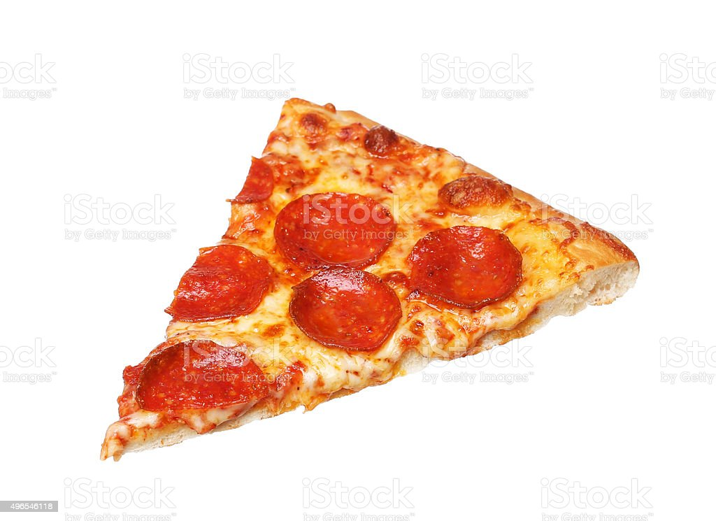 Slice of fresh italian classic original Pepperoni Pizza isolated stock photo