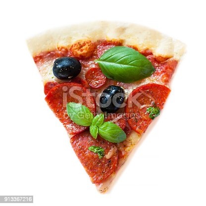 istock Slice of fresh italian classic Pepperoni Pizza with cheese, tomatoes and basil leaf isolated on white background