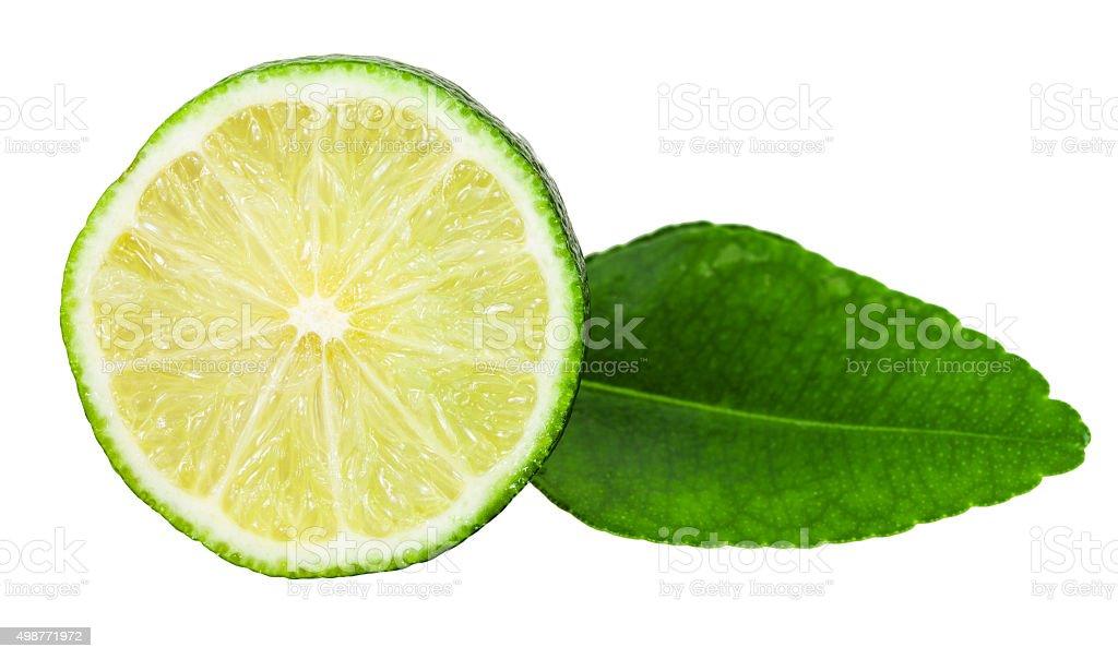 slice of fresh kaffir lime fruit with leaf stock photo