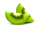 Slice of fresh kiwi fruit isolated on white background, with clipping path