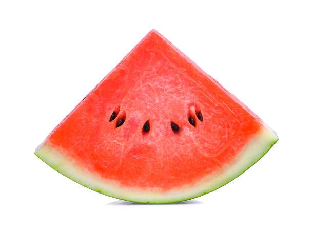 Fatia de melancia, isolada no fundo branco - foto de acervo
