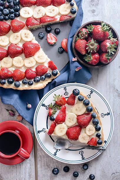 Slice of fruit pie stock photo