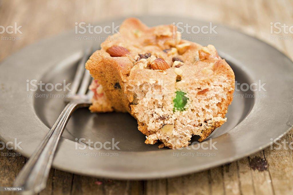 Slice Of Fruitcake. stock photo