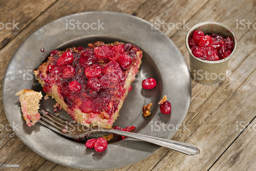 Slice Of Holiday Cranberry Cake stock photo