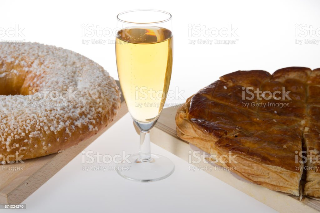 Slice of homemade cake garnished with almonds stock photo