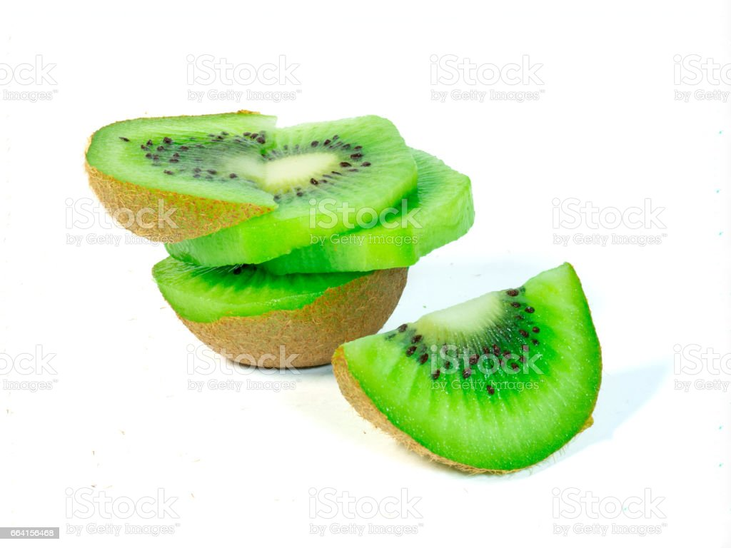 Slice of Kiwi Fruit isolated on White Background foto stock royalty-free