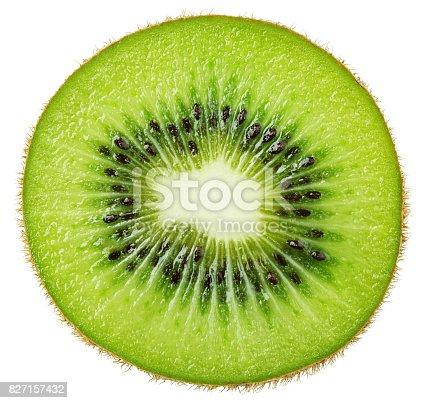 istock Slice of kiwi fruit isolated on white 827157432