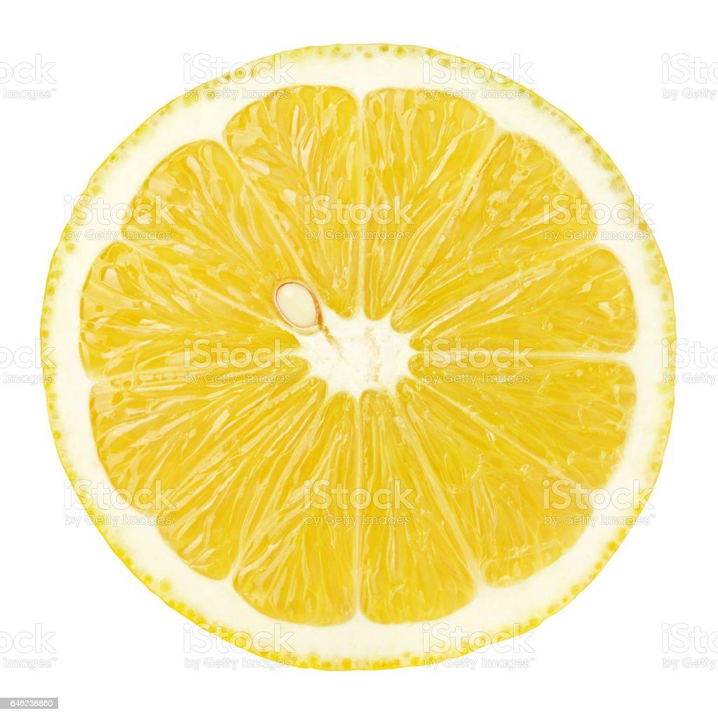 slice of lemon citrus fruit isolated on white - Zbiór zdjęć royalty-free (Bez ludzi)