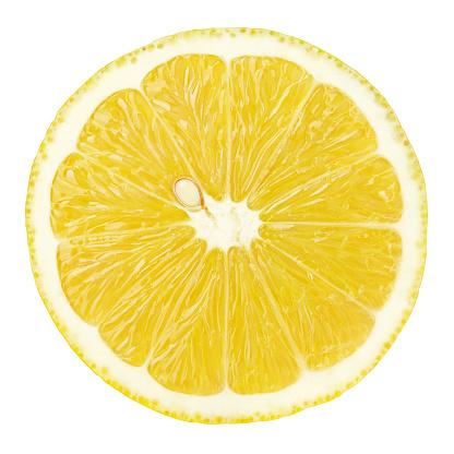 Slice Of Lemon Citrus Fruit Isolated On White - zdjęcia stockowe i więcej obrazów Bez ludzi