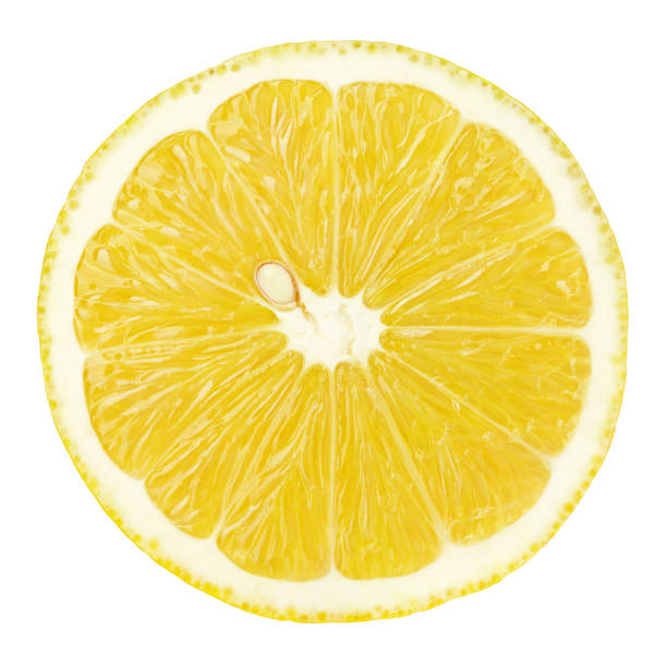 slice of lemon citrus fruit isolated on white stock photo