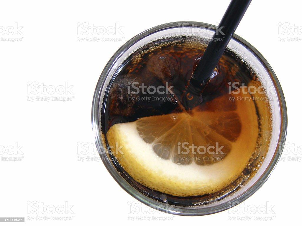 Slice of lemon in a coke royalty-free stock photo