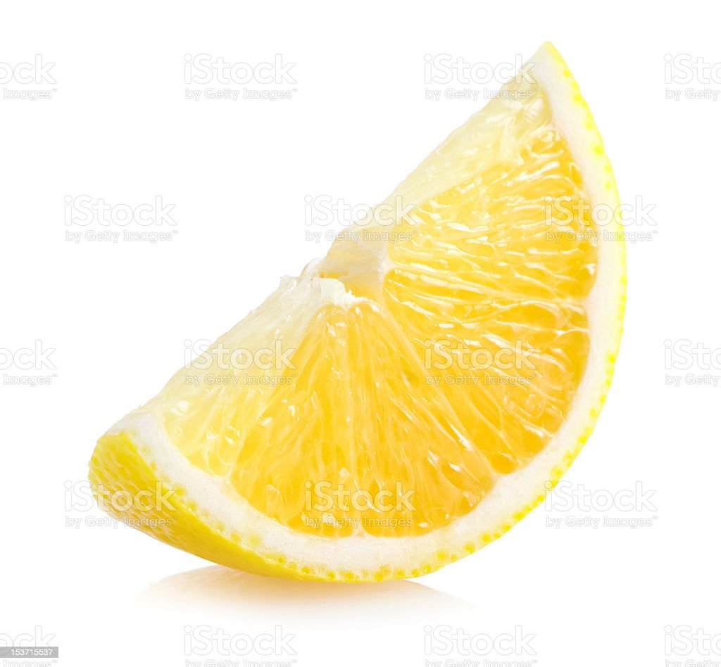 Slice of lemon isolated on white background stock photo