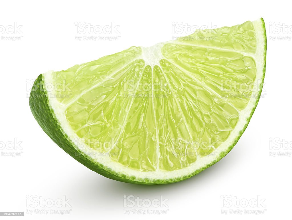 Slice of lime citrus fruit isolated on white stock photo