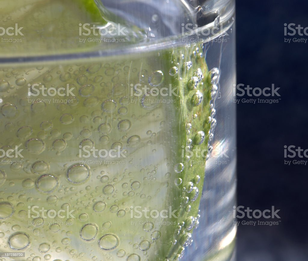 Slice of lime in tonic water half shot royalty-free stock photo