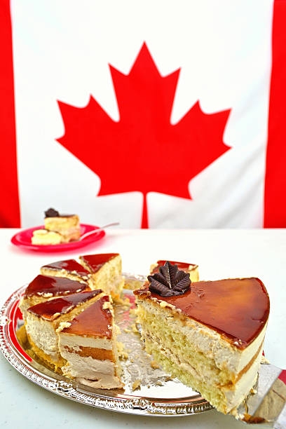 Slice of Maple Mousse Cake for Canada Day Celebrations stock photo