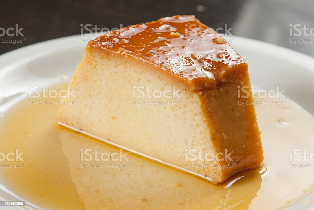Slice of Milk Pudding stock photo