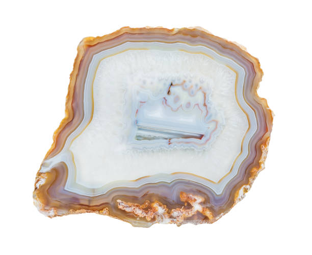 Slice of multicolor lacy agate stock photo