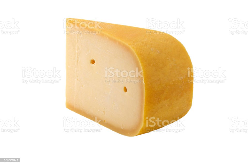 slice of old cheese isolated with clipping path stock photo