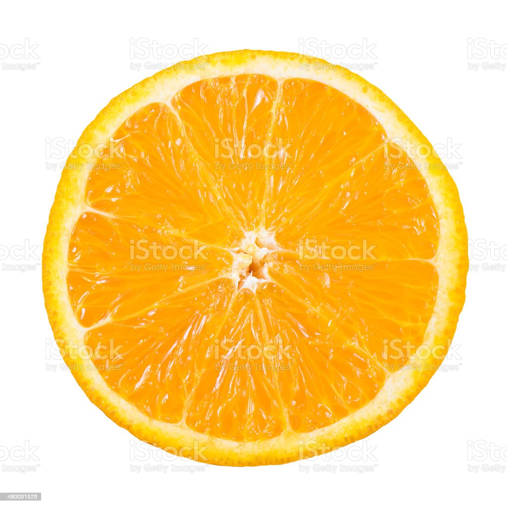 Slice of orange fruit isolated with clipping path stock photo