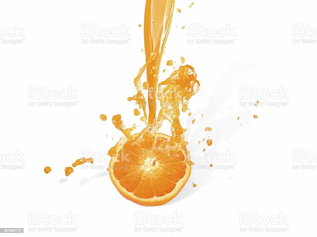 Slice of orange with juice coming out of it royalty-free stock photo