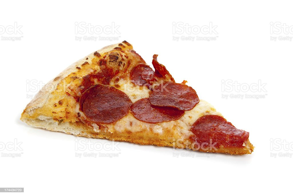 Slice of Pepperoni pizza on white stock photo