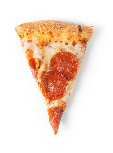 Slice of Pepperoni Pizza on White stock photo