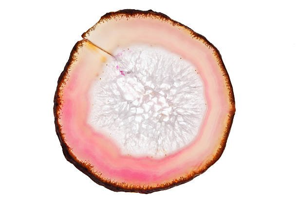 Slice of pink agate mineral stock photo